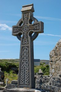Celtic cross on the Island of Inishmore, Ireland.